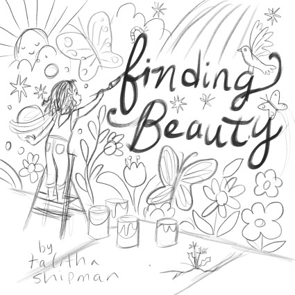 celebrate-picture-books-picture-book-review-Finding-Beauty-cover-sketch-painting-wall