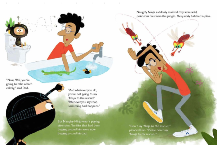 celebrate-picture-books-picture-book-review-naughty-ninja-takes-a-bath-flies