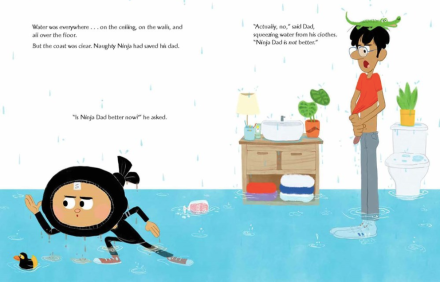 celebrate-picture-books-picture-book-review-naughty-ninja-takes-a-bath-flood