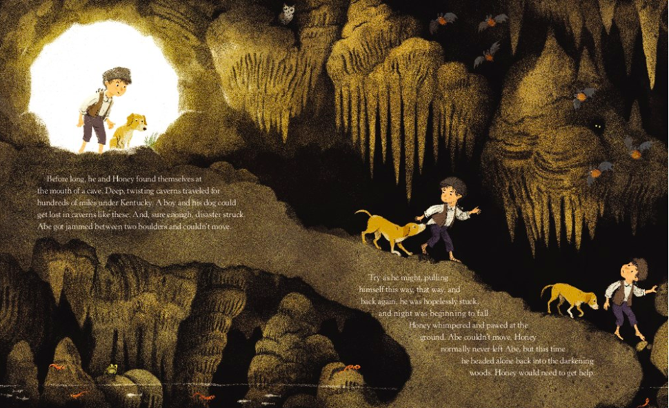 celebrate-picture-books-picture-book-review-honey-the-dog-who-saved-lincoln-cave