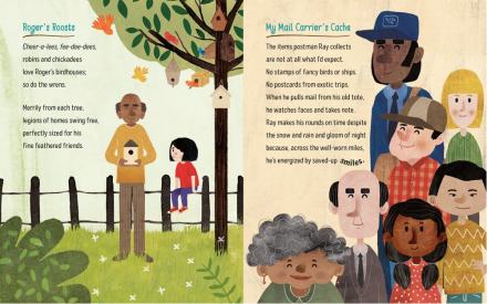 celebrate-picture-books-picture-book-review-finding-treasure-a-collection-of-collections-mail-carrier
