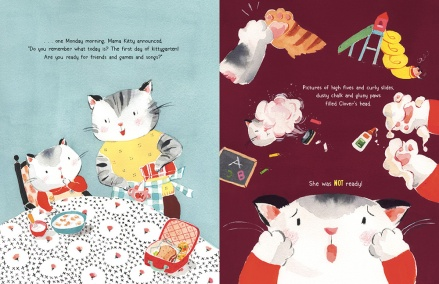 celebrate-picture-books-picture-book-review-Clover-Kitty-Goes-To-Kittygarten-first-day