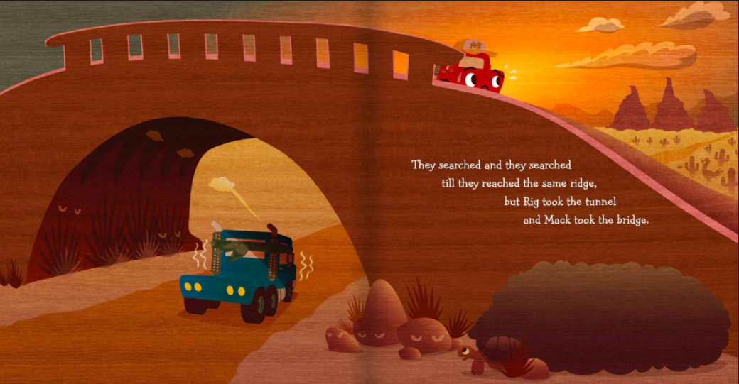 celebrate-picture-books-picture-book-review-two-trucks-get-lost-bridge
