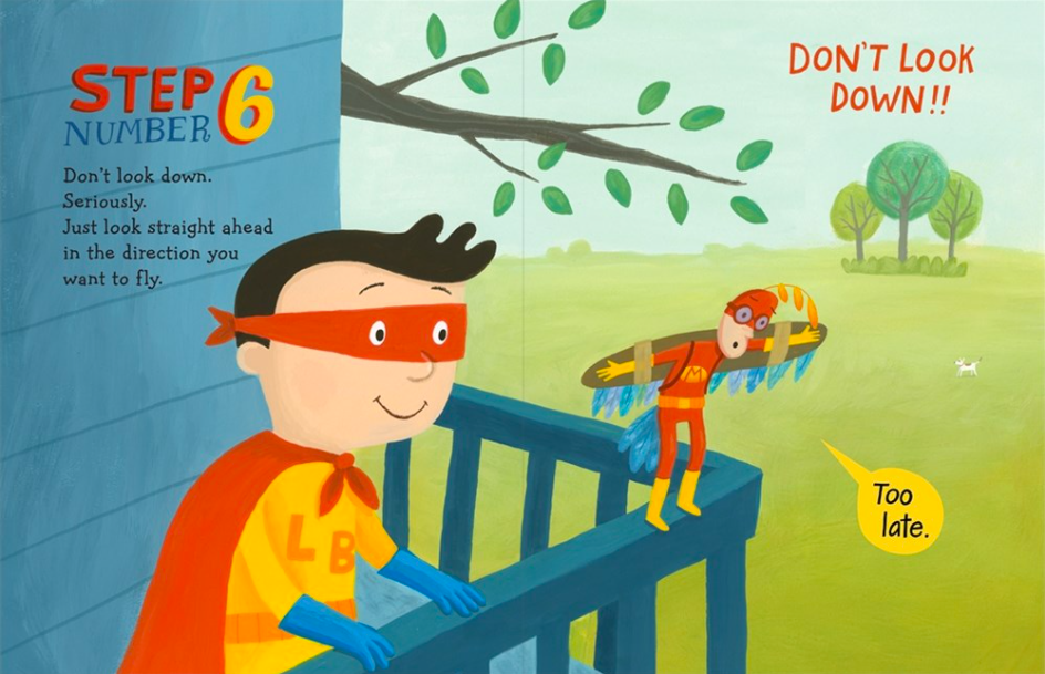 celebrate-picture-books-picture-book-review-ten-steps-to-flying-like-a-superhero-railing