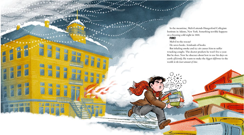 celebrate-picture-books-picture-book-review-melvil-dewey-fire