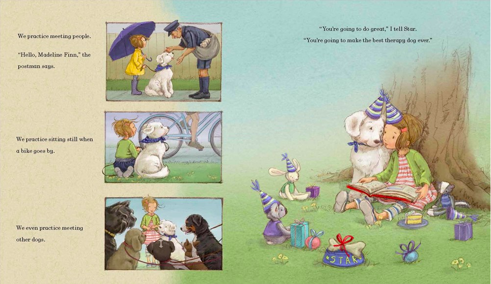 celebrate-picture-books-picture-book-review-madeline-finn-and-the-therapy-dog-practicing