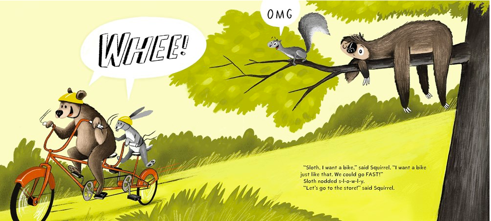 celebrate-picture-books-picture-book-review-sloth-and-squirrel-in-a-pickle-bike